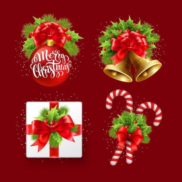 Conjunto de sinal de natal, cartão de felicitações Vetor Premium