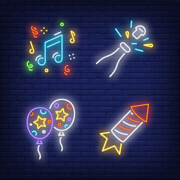 Conjunto de sinal de néon de festa festiva. balões de ar Vetor grátis
