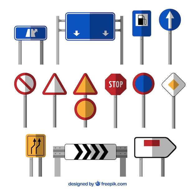Conjunto de sinal de trânsito no design plano Vetor grátis