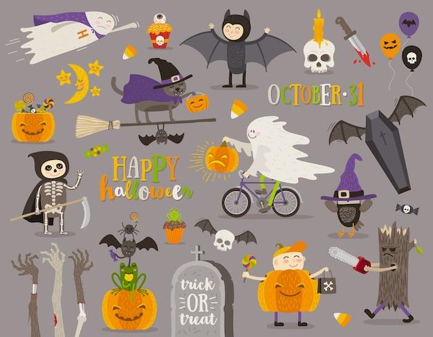Conjunto de sinal, símbolo, objetos, itens e personagens de desenhos animados de halloween. ilustração. Vetor Premium