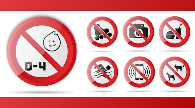 Conjunto de sinal vermelho de proibição Vetor Premium
