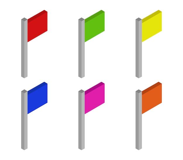 Conjunto de sinalizadores isométricos Vetor Premium