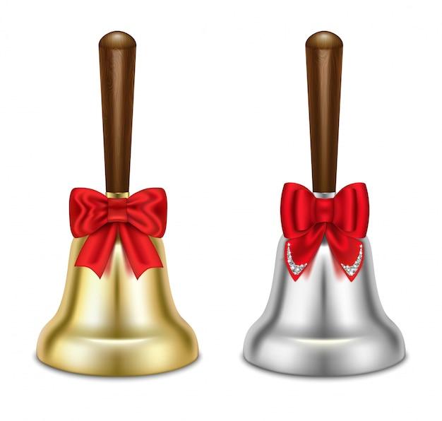 Conjunto de sinos de ouro e prata. com laços vermelhos. Vetor Premium