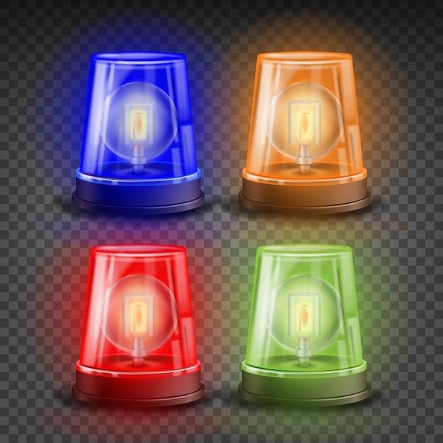Conjunto de sirenes realistas de flasher Vetor Premium