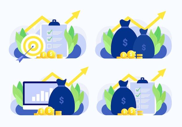 Conjunto de situação de negócios. plano de negócios, alvo, dinheiro, gráfico, investimento, relatório, crescimento financeiro. estilo moderno simples. Vetor Premium