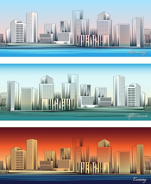 Conjunto de skylines da cidade em fundos de manhã, tarde e noite sem emenda. Vetor grátis
