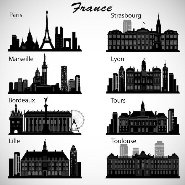 Conjunto de skylines das cidades da frança. silhuetas Vetor Premium