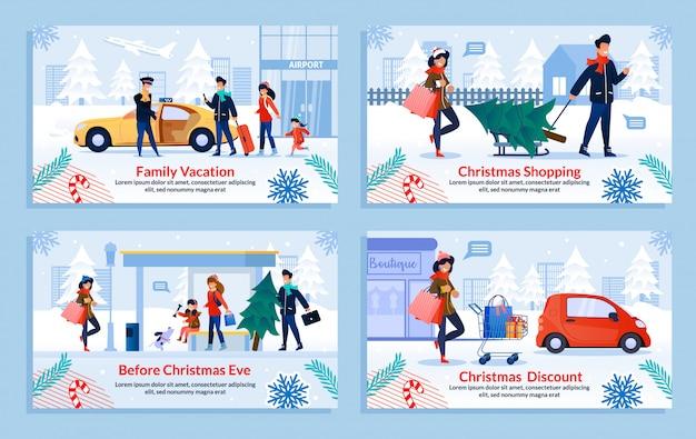 Conjunto de slides de compras de natal Vetor Premium