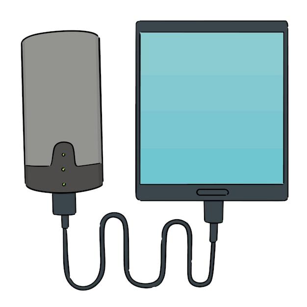 Conjunto de smartphone cobrando via banco de potência Vetor Premium
