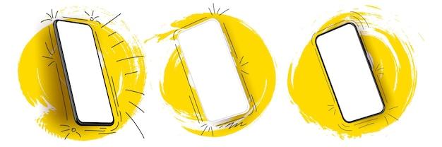 Conjunto de smartphone realista com cor de respingo. tecnológico artístico. Vetor Premium