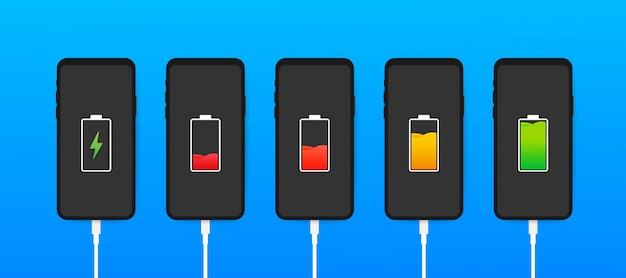 Conjunto de smartphones com indicadores de nível de carga da bateria e com  conexão usb. smartphone com bateria descarregada e totalmente carregada.  ilustração. | Vetor Premium