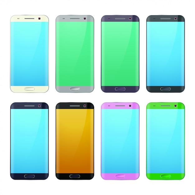 Conjunto de smartphones Vetor Premium