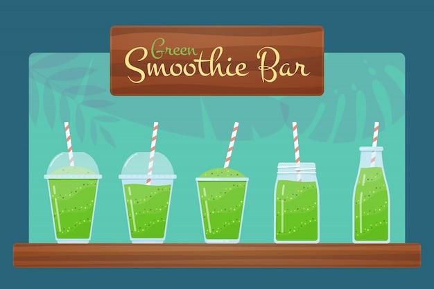 Conjunto de smoothie de dieta desintoxicação natural verde Vetor Premium