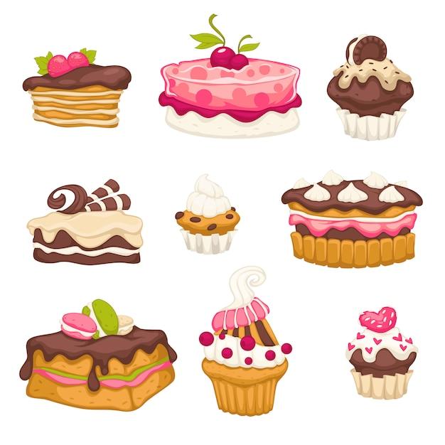 Conjunto de sobremesas com topcakes de cereja e chocolate Vetor Premium