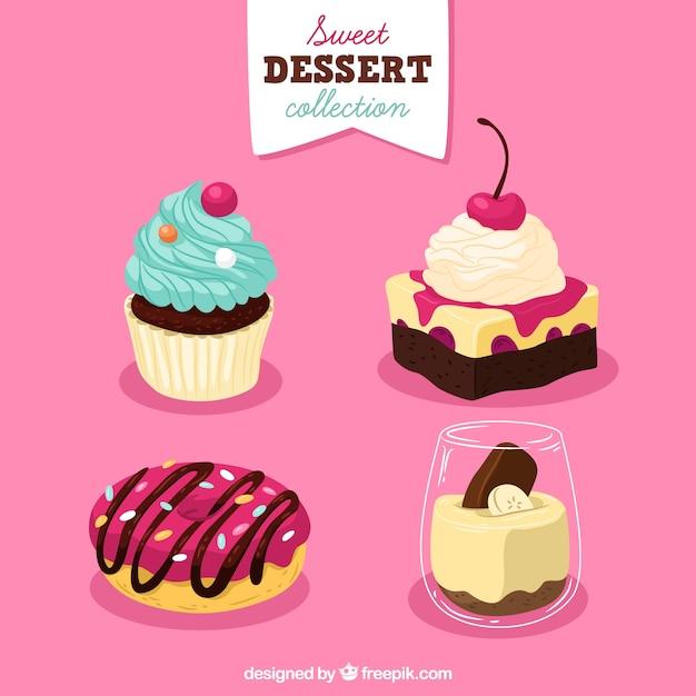 Conjunto de sobremesas doces em estilo desenhado a mão Vetor grátis