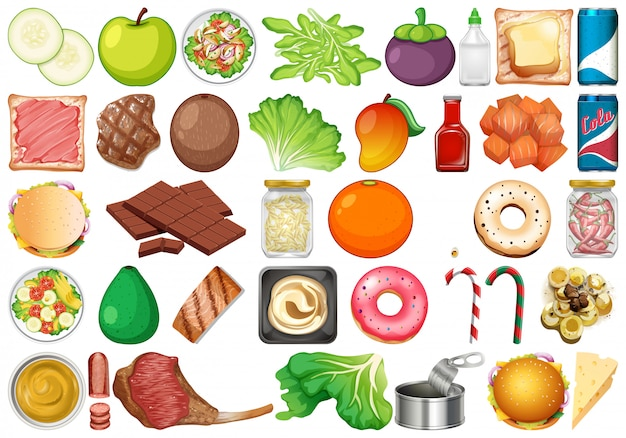 Conjunto de sobremesas e legumes frescos isolados Vetor Premium