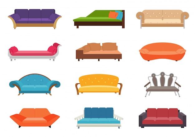 Conjunto de sofá cor Vetor Premium