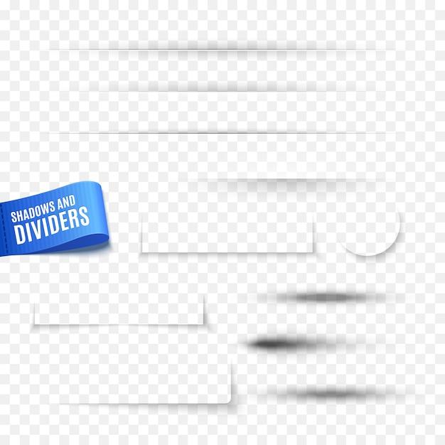 Conjunto de sombras redondas e quadradas e divisores Vetor Premium