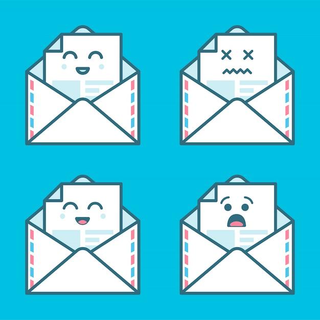 Conjunto de sorriso emoji emoticon cara em e-mail com muita variação. design moderno ícones planas. Vetor Premium