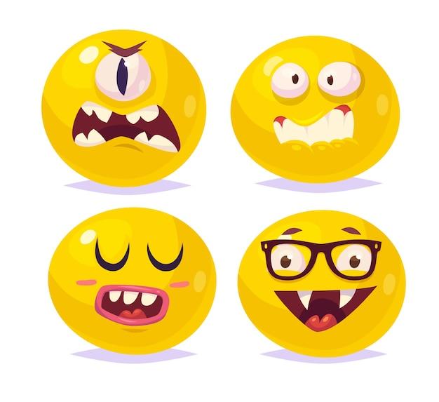 Conjunto de sorrisos engraçados de halloween. ciclope do monstro vampiro drácula. Vetor Premium