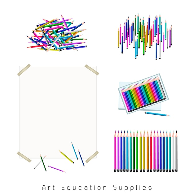 Conjunto de sortimento de lápis de cor Vetor Premium