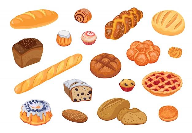 Conjunto de sortimento de pão Vetor grátis