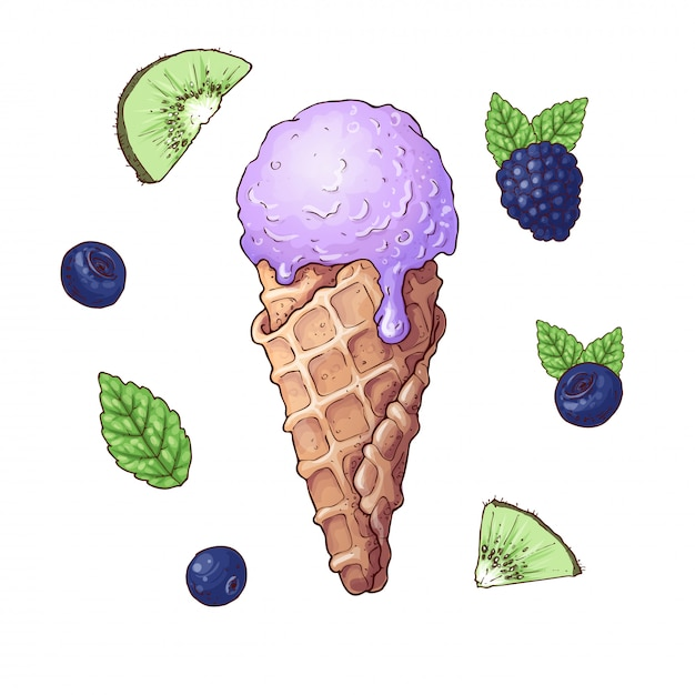Conjunto de sorvete com frutas Vetor Premium
