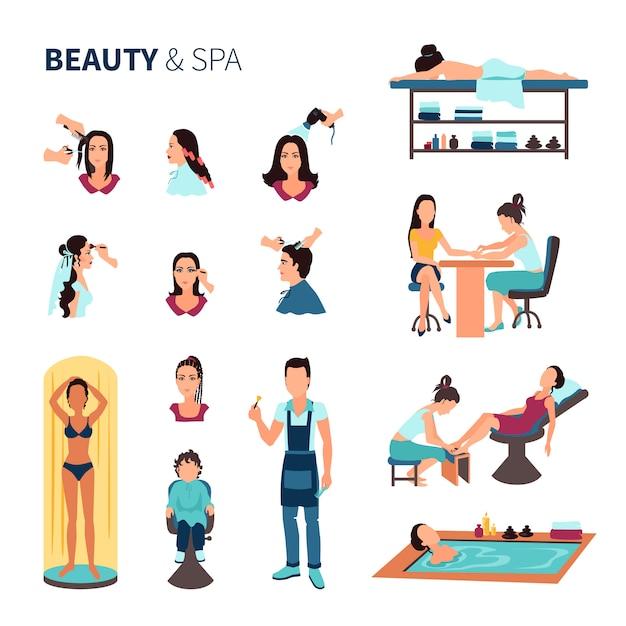 Conjunto de spa de salão de beleza Vetor grátis
