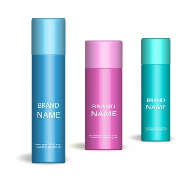 Conjunto de spray realista. sobre fundo branco. frasco de cosméticos, desodorante. coleção de embalagens de produtos. ilustração. Vetor Premium