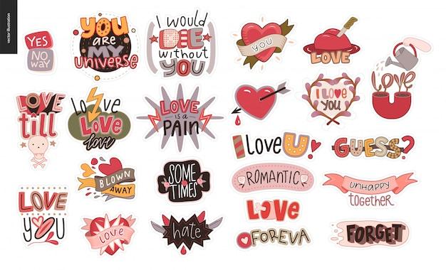 Conjunto de stikers de amor contemporâneos Vetor Premium