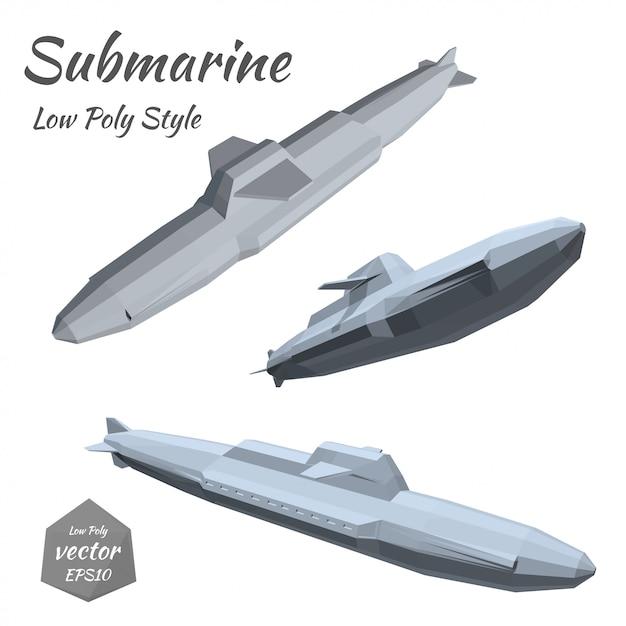 Conjunto de submarinos isolados no branco Vetor Premium