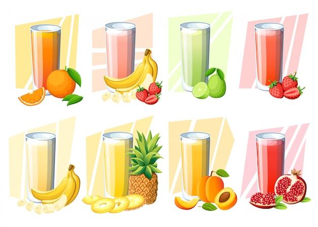 Conjunto de sucos e vitaminas. suco de fruta fresca em vidro. pêssego, morango, banana, limão, romã, laranja, abacaxi. ilustração em fundo branco Vetor Premium