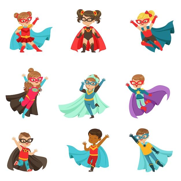 Conjunto de super crianças, meninos e meninas em fantasias de super-heróis coloridas ilustrações Vetor Premium