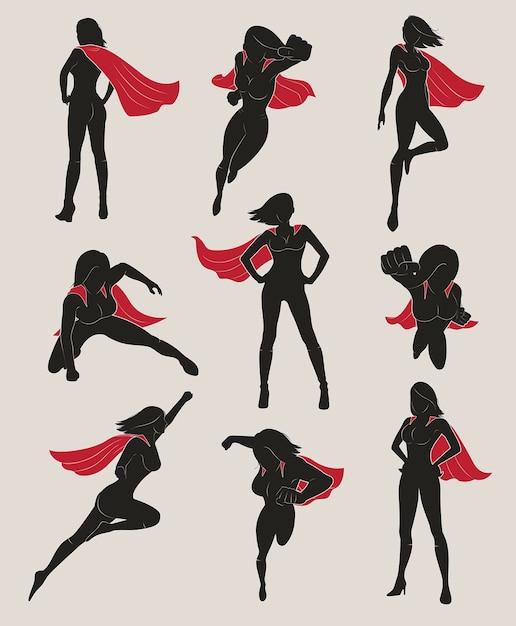 Conjunto de super-herói feminino Vetor Premium