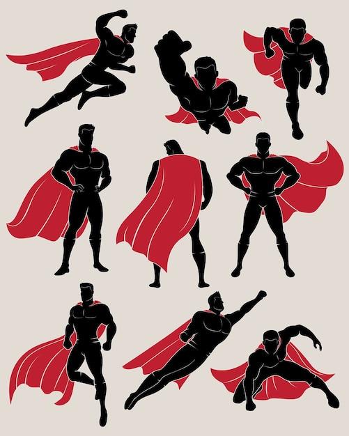 Conjunto de super-heróis em 9 posições diferentes Vetor Premium
