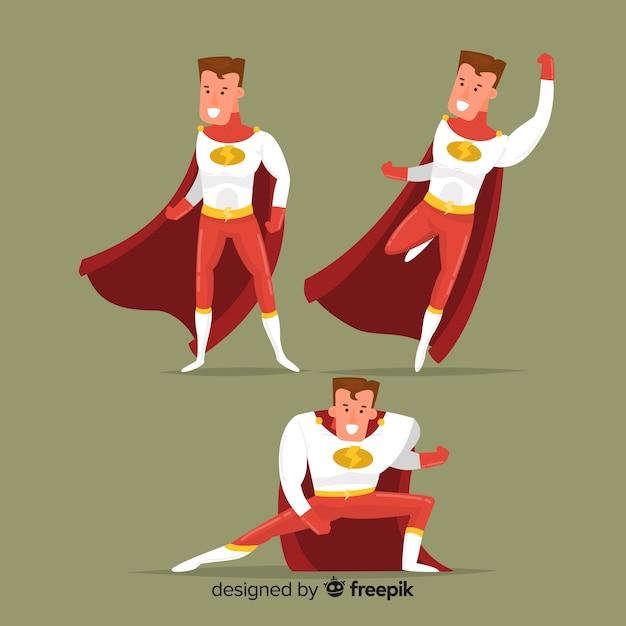 Conjunto de super-heróis masculino dos desenhos animados Vetor grátis
