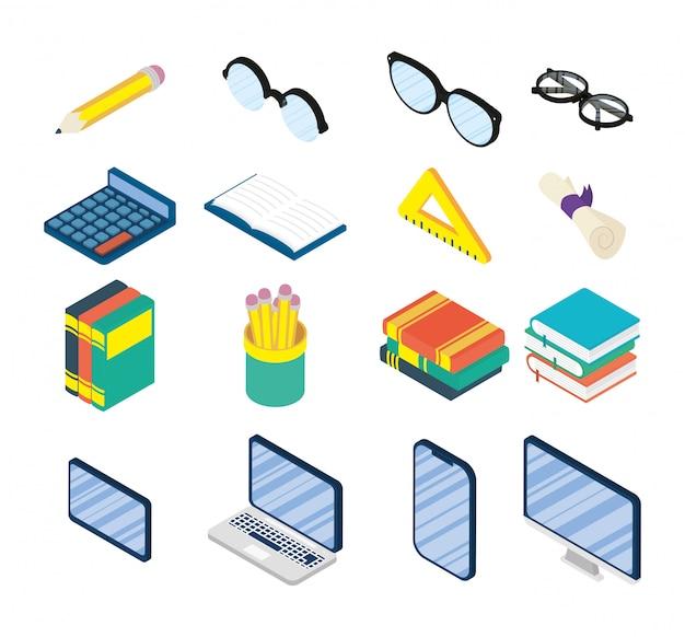 Conjunto de suprimentos on-line de educação conjunto de ícones Vetor Premium