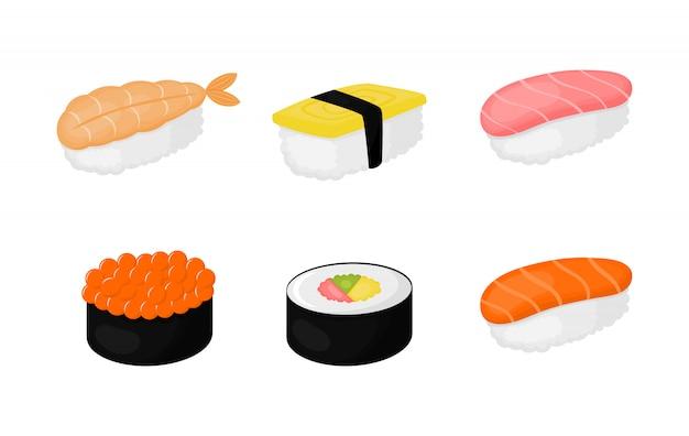 Conjunto de sushi isolado para café ou restaurante. Vetor Premium