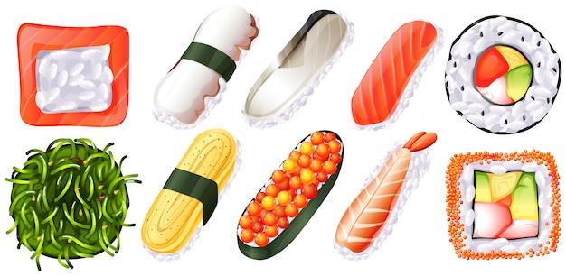 Conjunto de sushi no fundo branco Vetor grátis