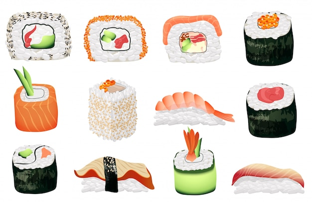 Conjunto de sushi Vetor Premium