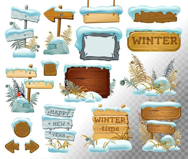 Conjunto de tábuas de madeira com monte de neve. Vetor Premium