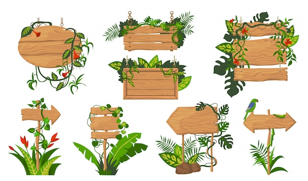 Conjunto de tábuas de madeira de selva Vetor grátis