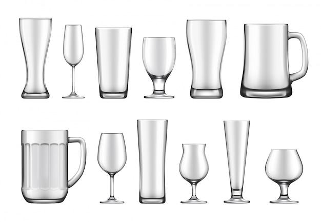 Conjunto de taças, canecas e potes de vidro Vetor Premium