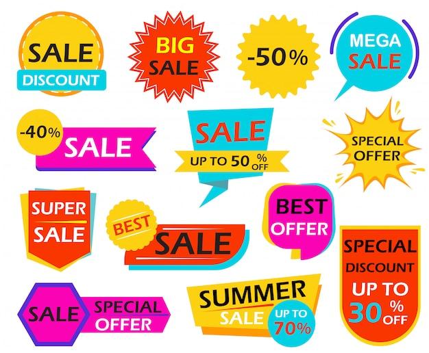 Conjunto de tags de elemento de design de banner de venda Vetor Premium