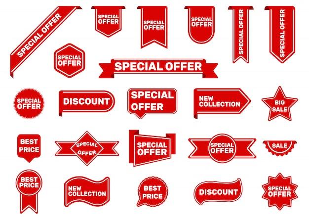 Conjunto de tags de oferta especial Vetor grátis