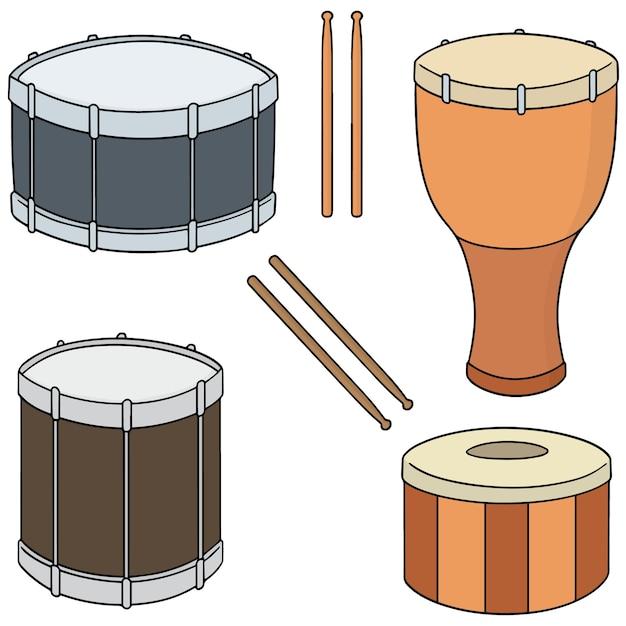 Conjunto de tambor Vetor Premium