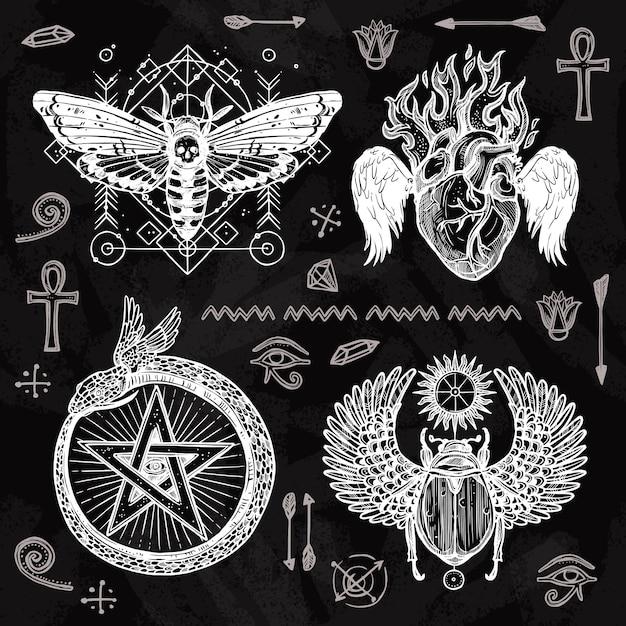 Conjunto de tatuagem de quadro-negro Vetor grátis