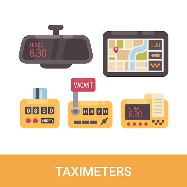 Conjunto de taxímetros Vetor Premium