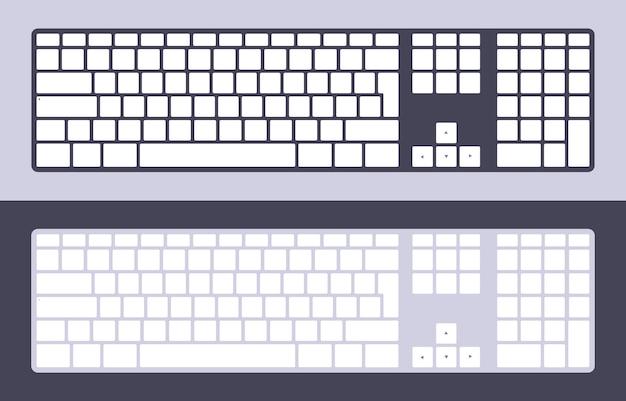 Conjunto de teclados de pc com teclas em branco Vetor Premium