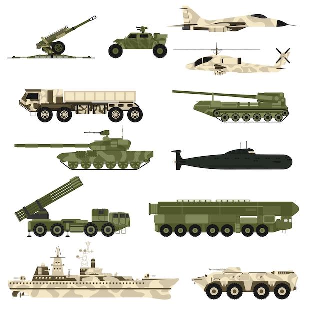 Conjunto de técnica militar e armor tanques ilustração vetorial plana. Vetor Premium